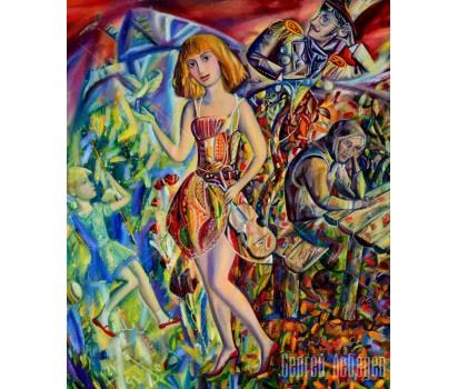 Картина на холсте Девушка и Время